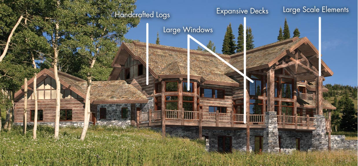 Western log timber style homes