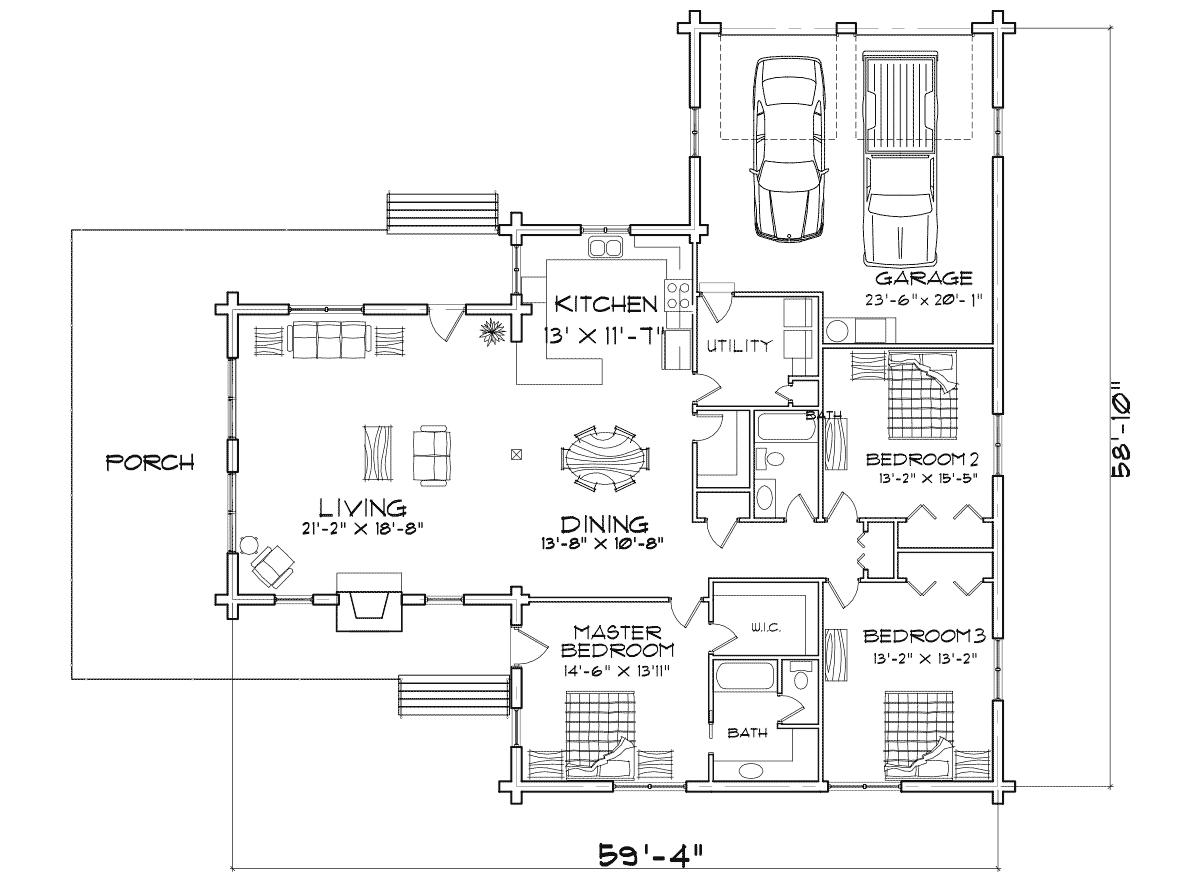 Alpine meadow log home floor plan for Alpine house plans