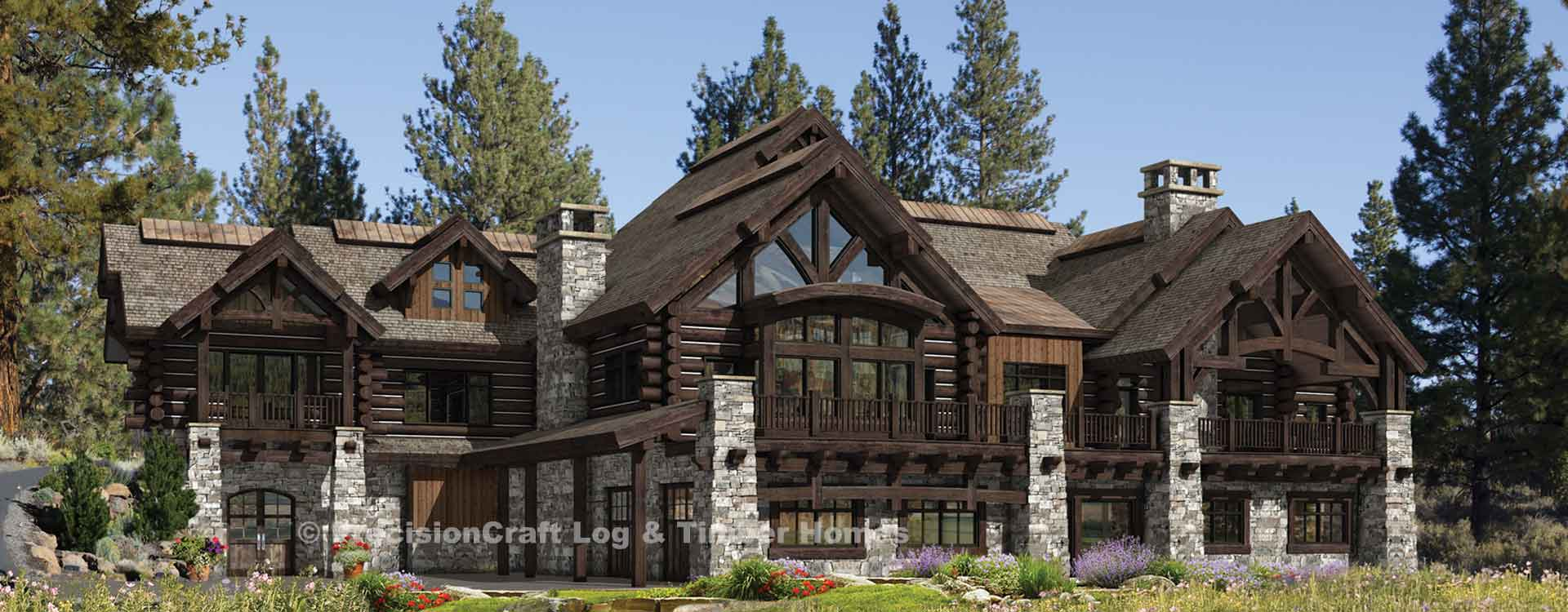 Buffalo Creek log home lodge Rendering