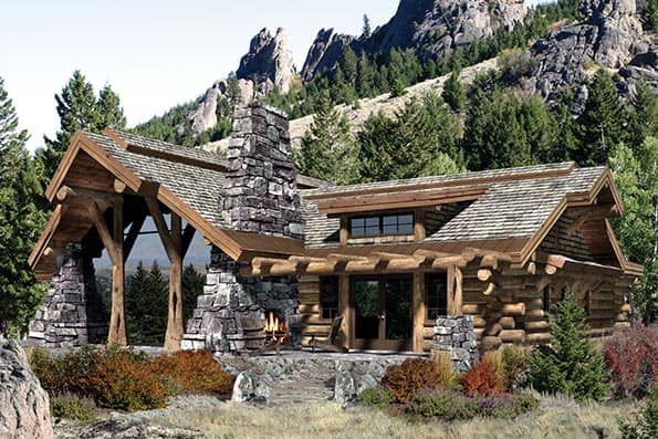 Caribou handcrafted log home plan