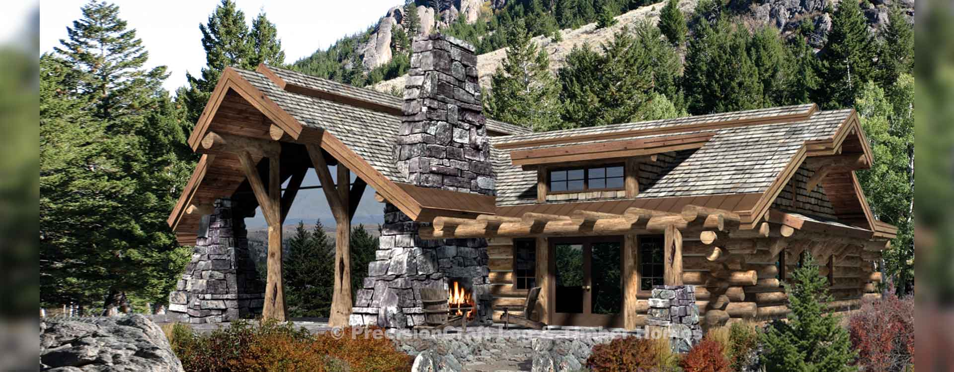 Caribou handcrafted log home Rendering