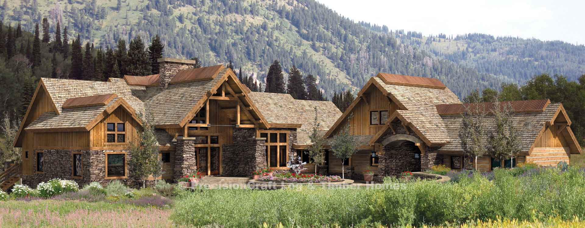 Coeur d 39 alene lodge luxury timber frame home plan for Luxury timber homes