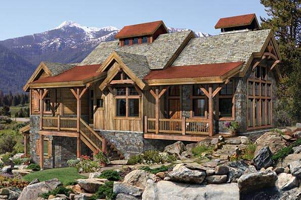 Timber frame and log home floor plans by precisioncraft for Log and stone house plans