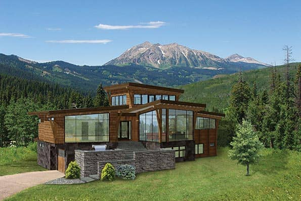 Crescent Rim modern timber home plan