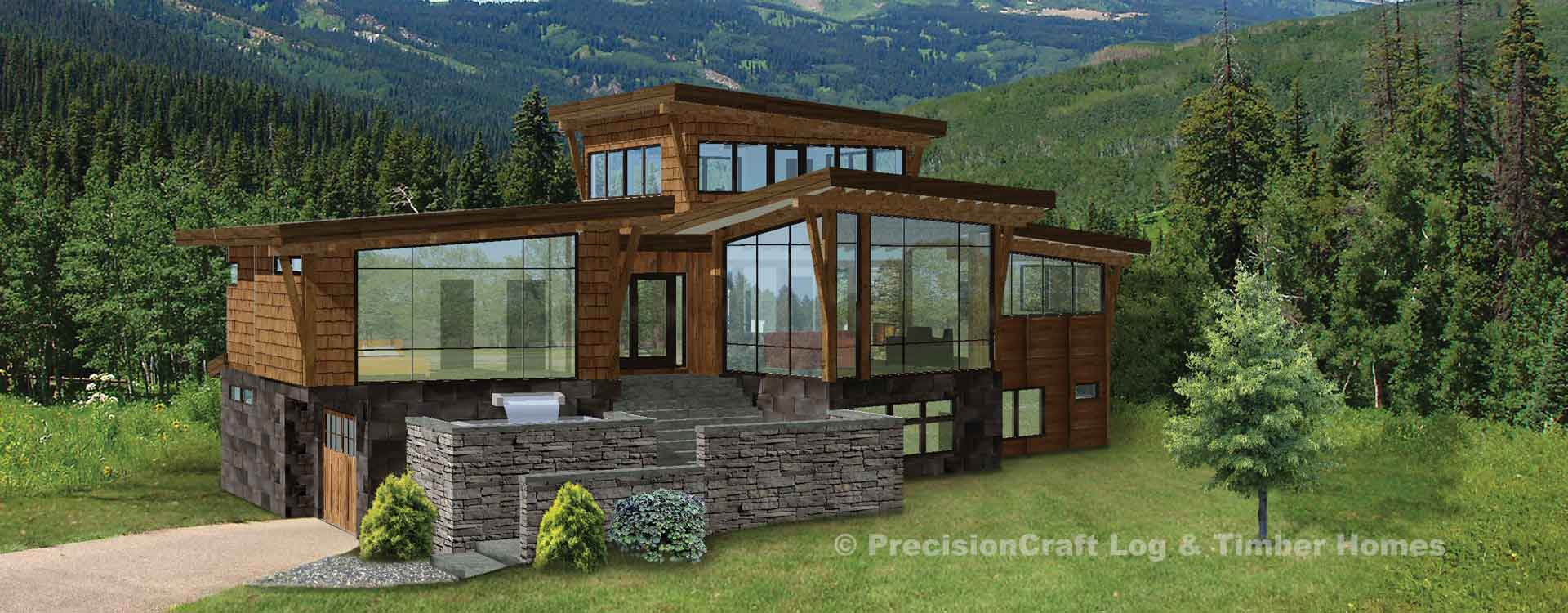 Crescent rim modern timber frame plan for Contemporary timber frame home plans