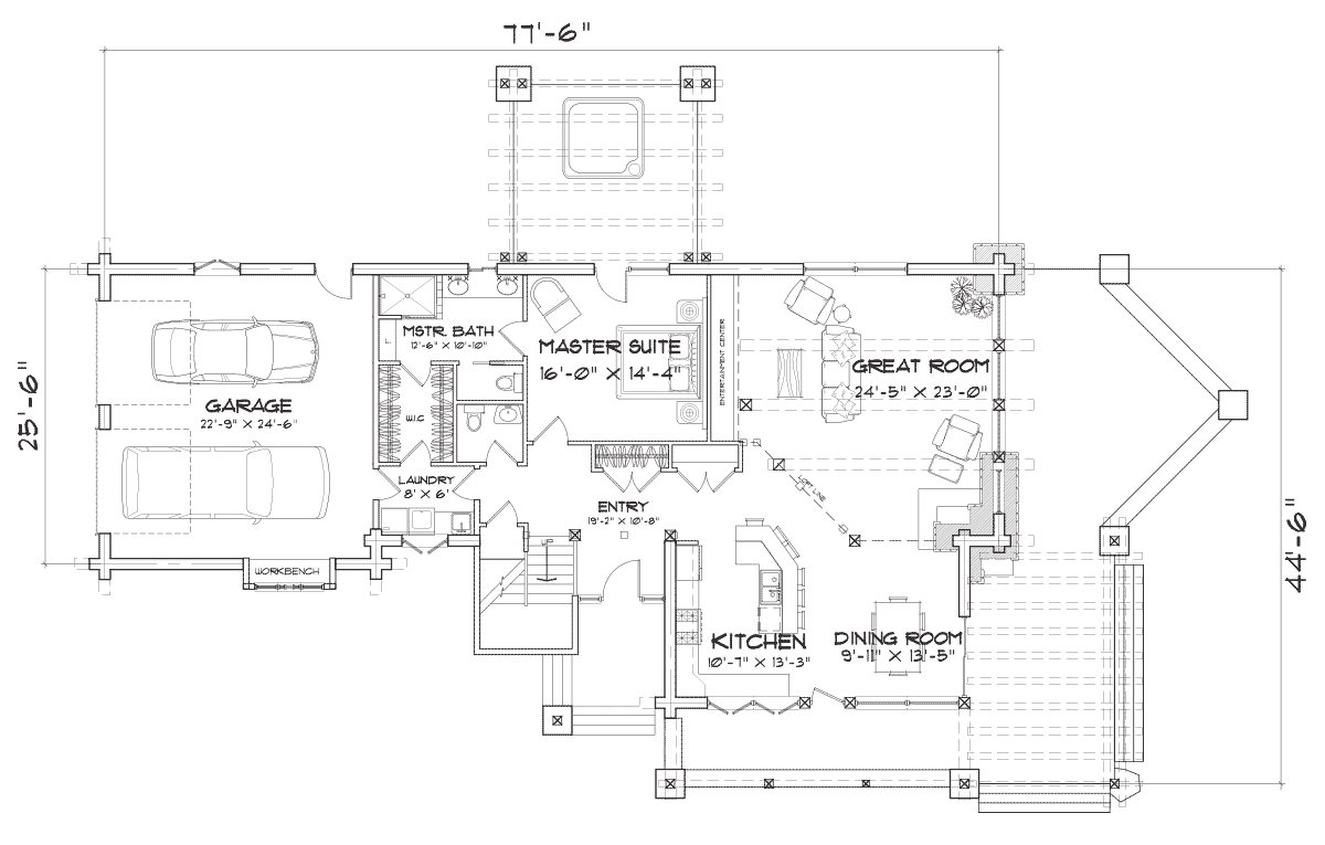 Flat Iron Chalet Main Floor Plan