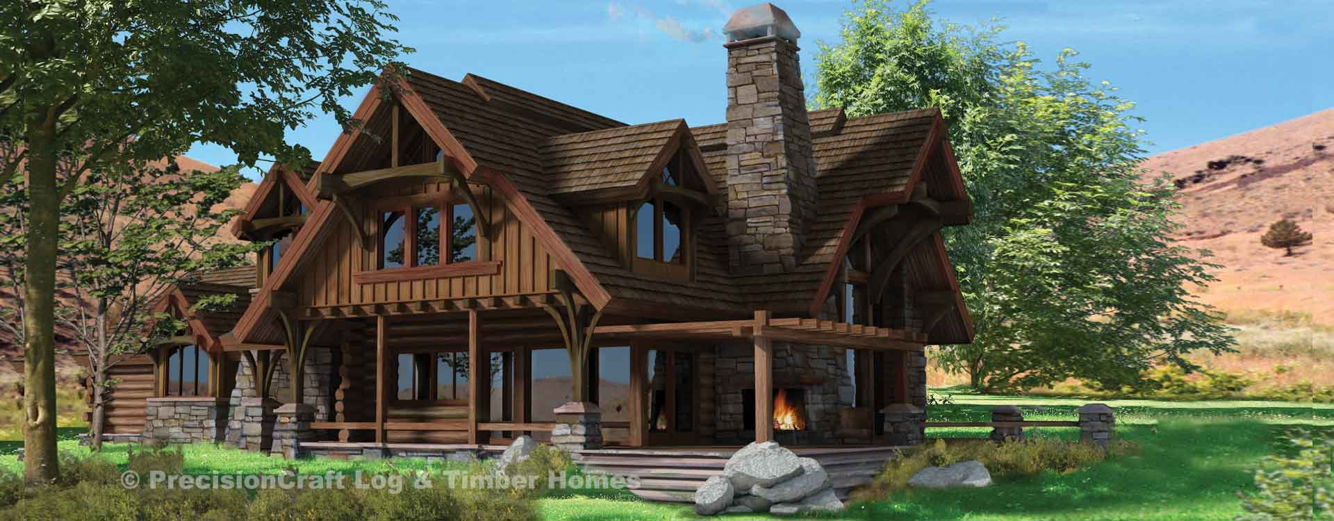 Flat Iron Chalet Log Home Rendering