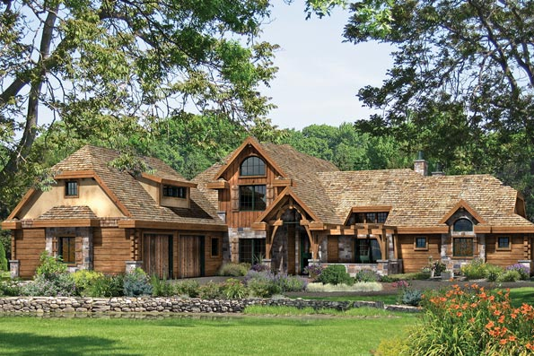 Hickory Falls Log and timber home plan