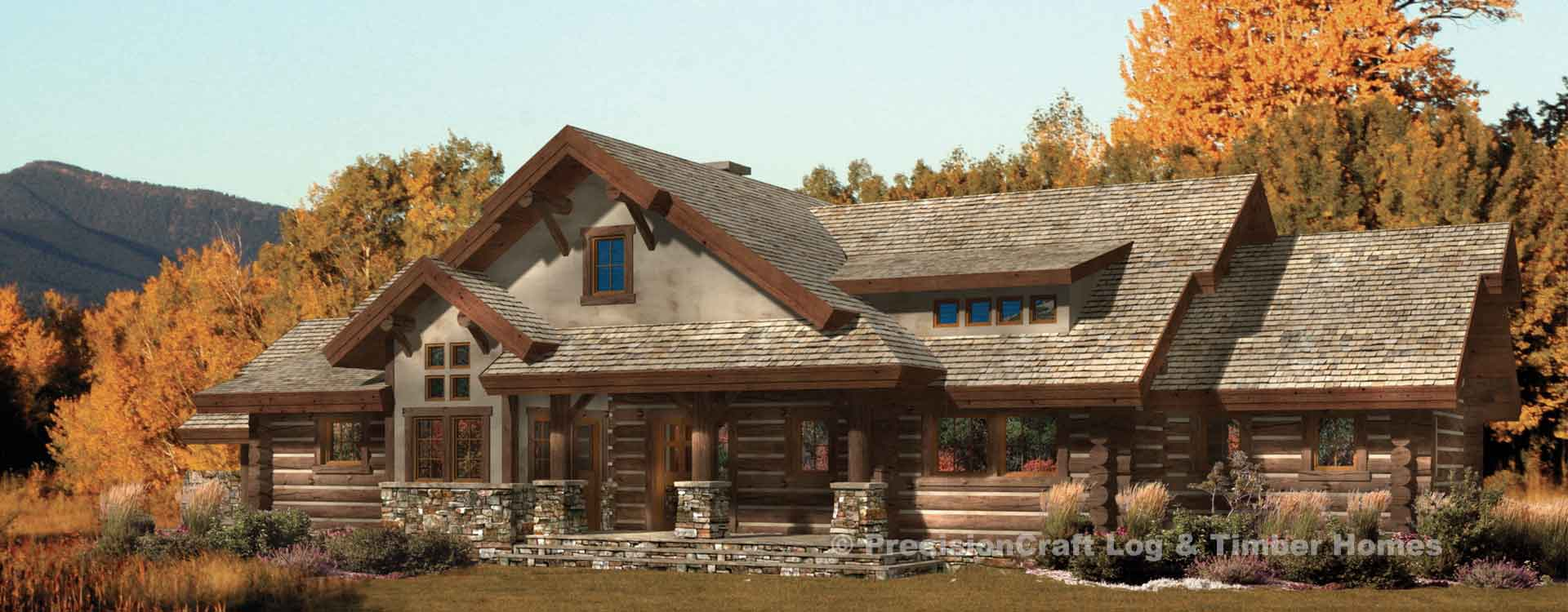 Hidden Creek Craftsman Log Home Plan