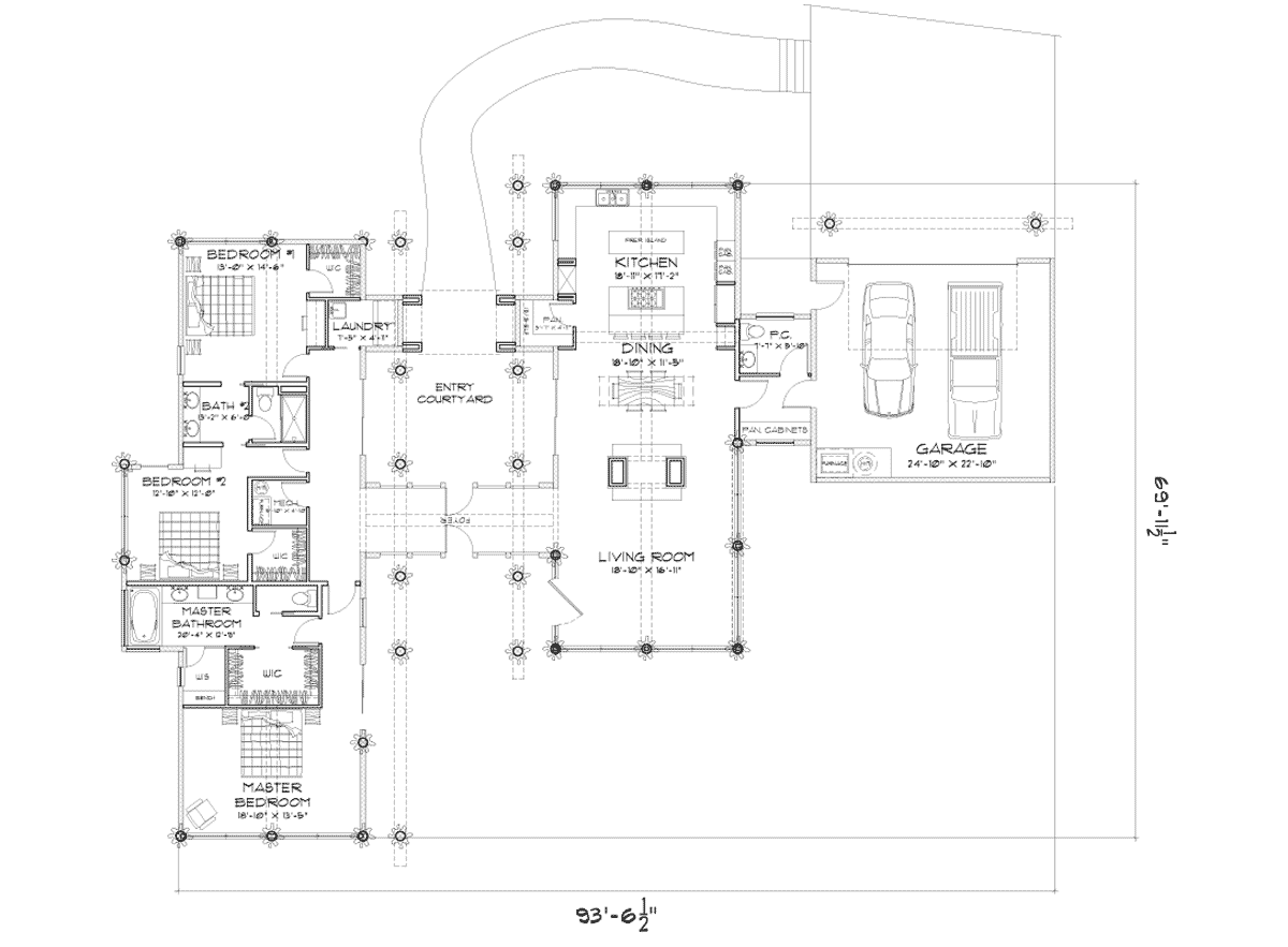 Rainier log post and beam floor plan for Modern log home floor plans