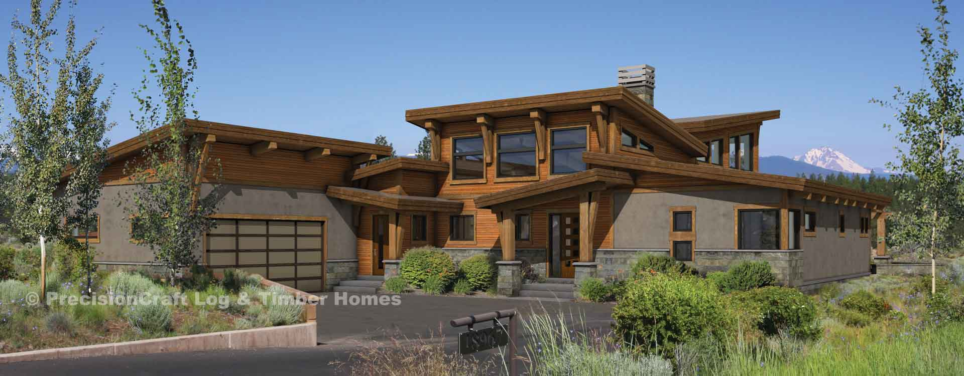 River run modern timber frame plan for Modern log home floor plans