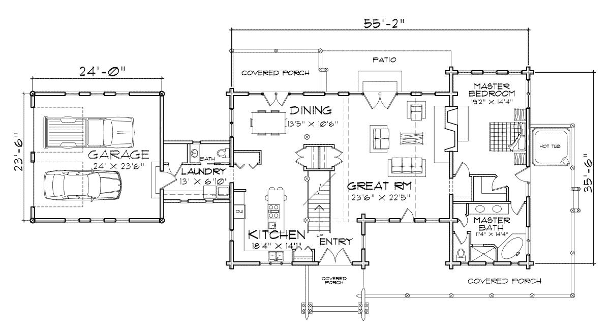 Saratoga Log Home Floor Plan