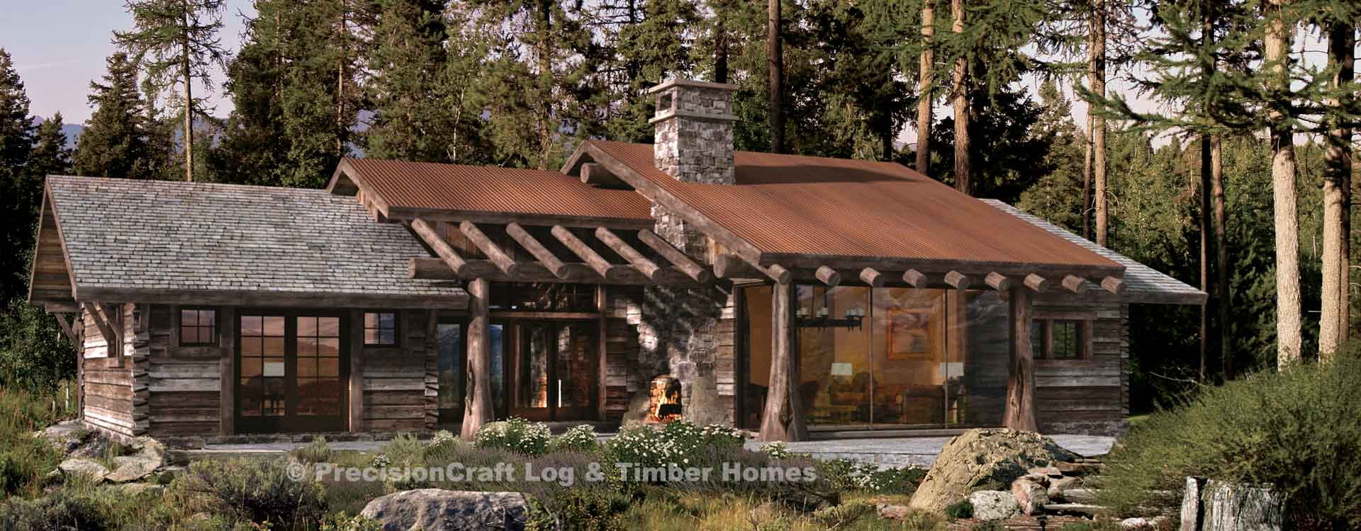 Ranch style log cabin floor plans for Montana style house plans