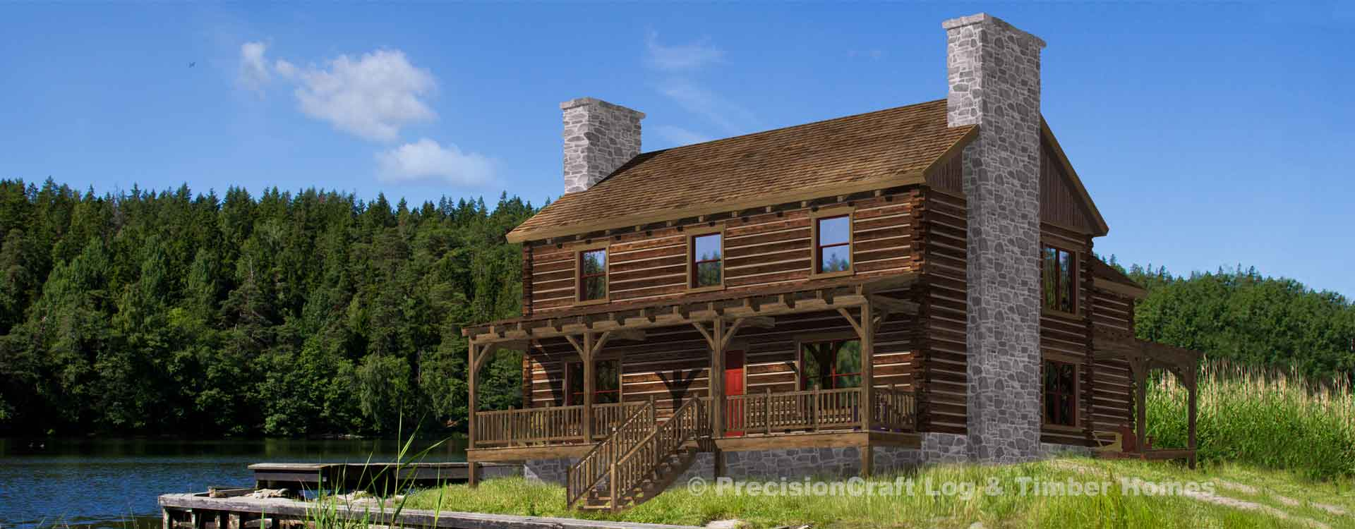 Stone Creek log home Rendering