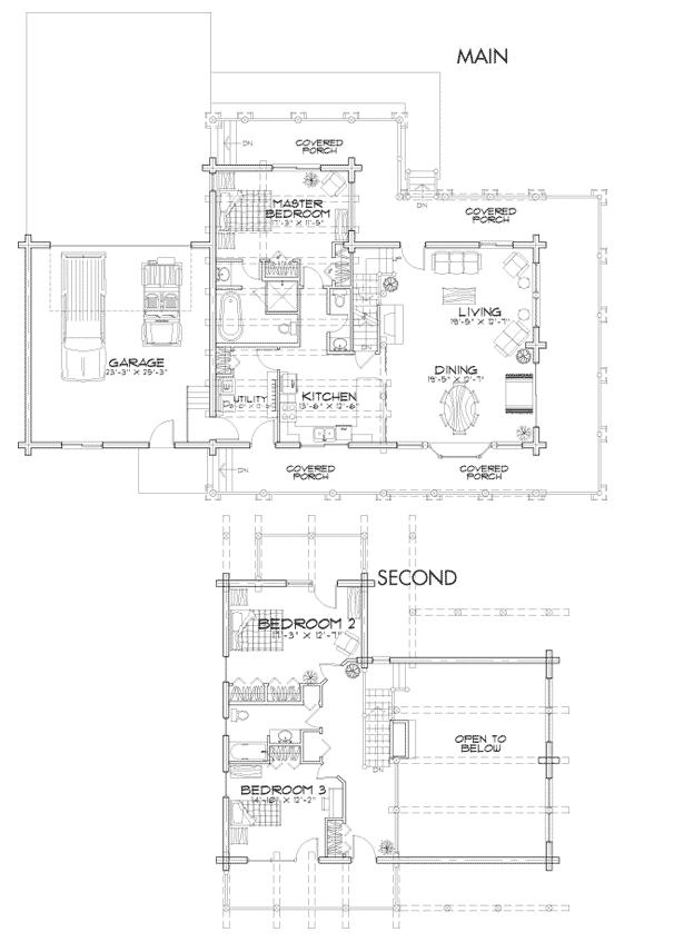 Timber ridge log home floor plan for Log home plans with cost to build