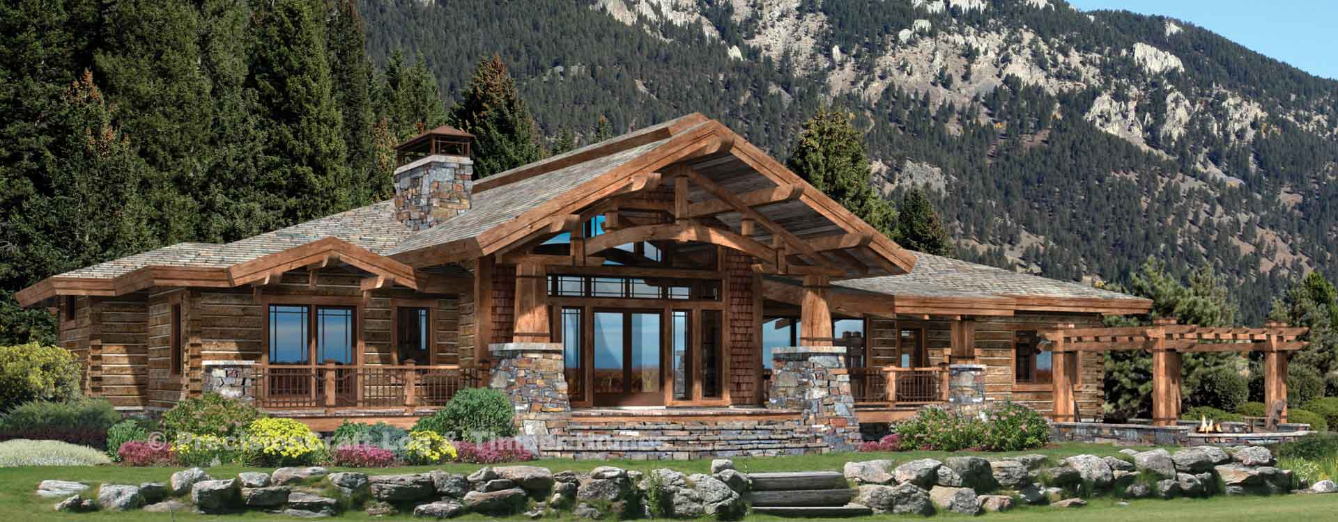 Wood River hybrid log and timber home Rendering