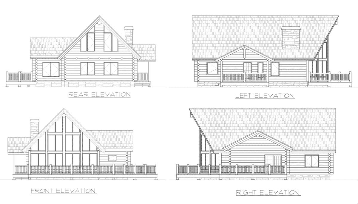 Yellowstone Elevation : Yellowstone log home floor plan