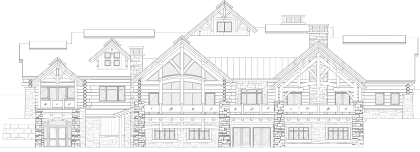 custom log home elevation