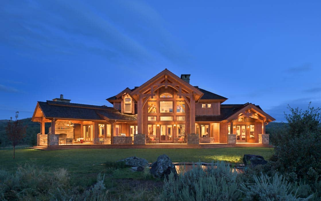Afton wyoming timber home by precisioncraft Wyoming home builders