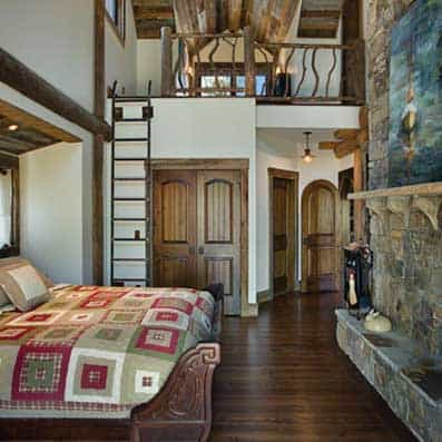 Log Post and Beam Bedroom