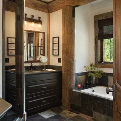 Log Post and Beam Bathroom