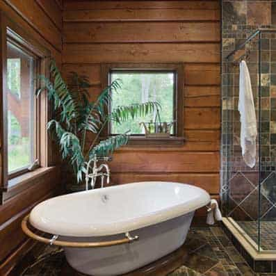 Hybrid log and timber frame bathroom