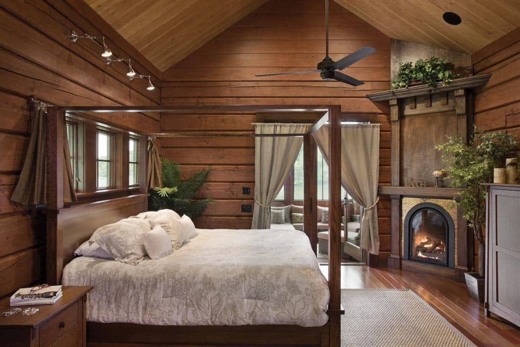 Bedroom And Bathroom Timber Log Home Photo Gallery