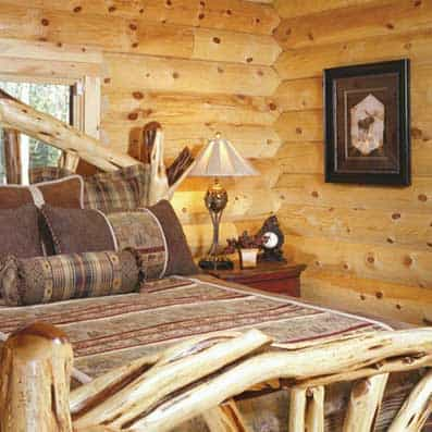 Bedroom and Bathroom | Timber Log Home Photo Gallery