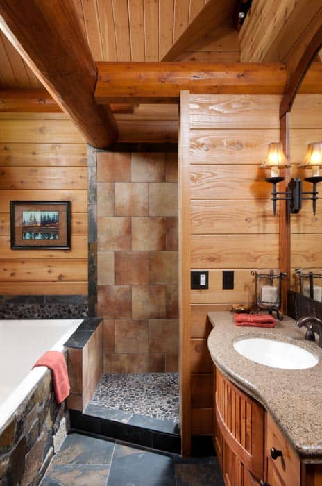 Milled Log Bathroom 4. Bedroom and Bathroom   Timber Log Home Photo Gallery