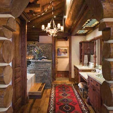 Handcrafted Log Bathroom