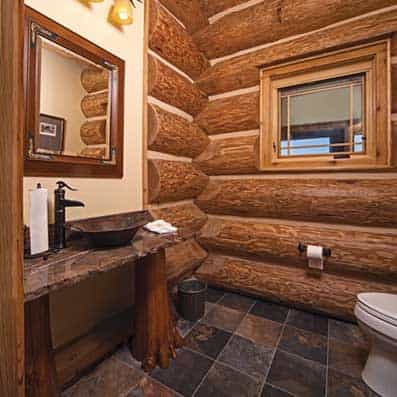 Handcrafted Log Bathroom 2