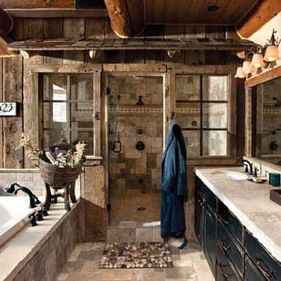 Handcrafted Log Bathroom seven