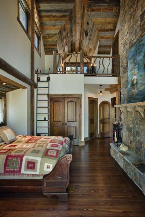 Blue ridge georgia log home cabin by precisioncraft Master bedroom with loft area