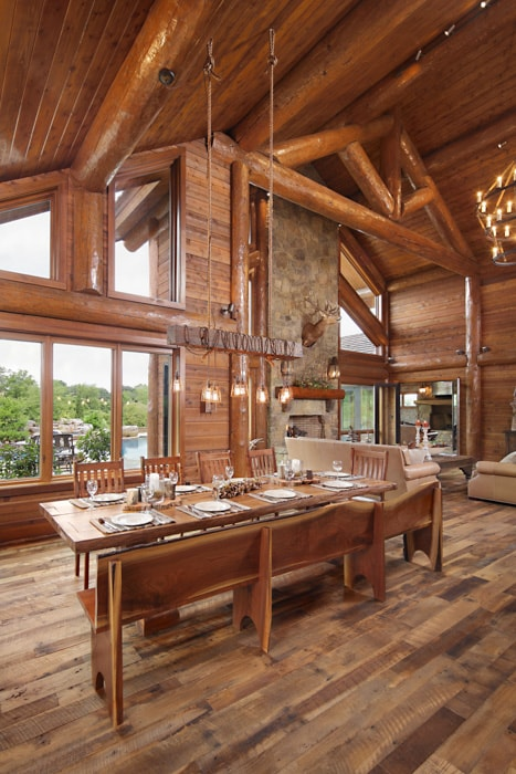 Rustic log home dining room