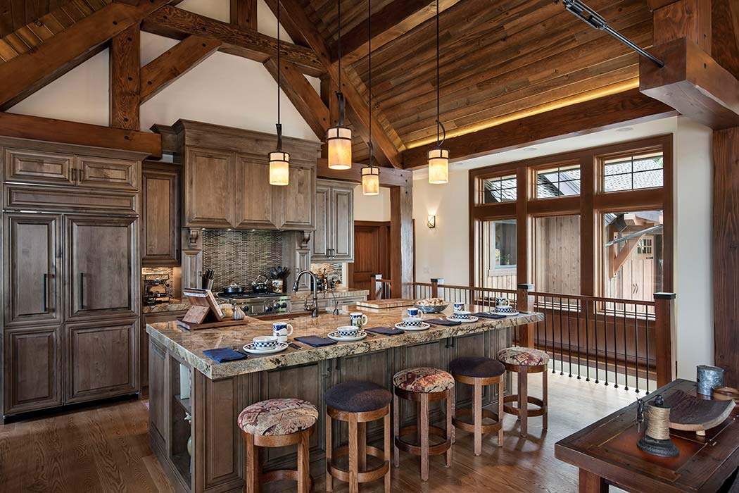 Photos timber and log home kitchens and dining rooms for Log home kitchens gallery