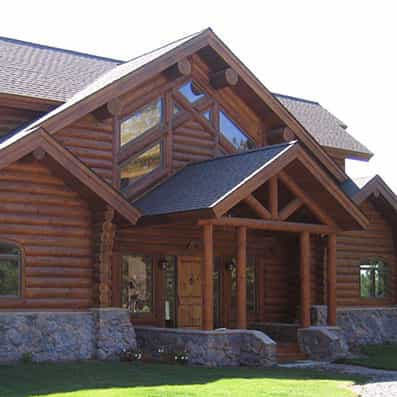 Milled Log Home Entry