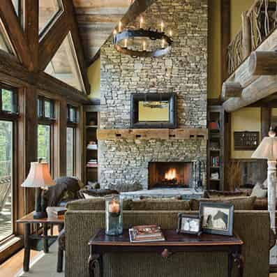 Handcrafted Log Great Room
