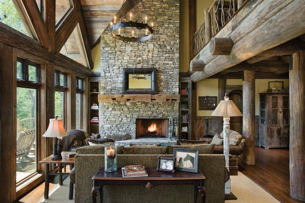 Beautiful ... Handcrafted Log Great Room ...