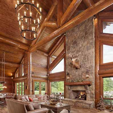 Handcrafted Log home Great Room