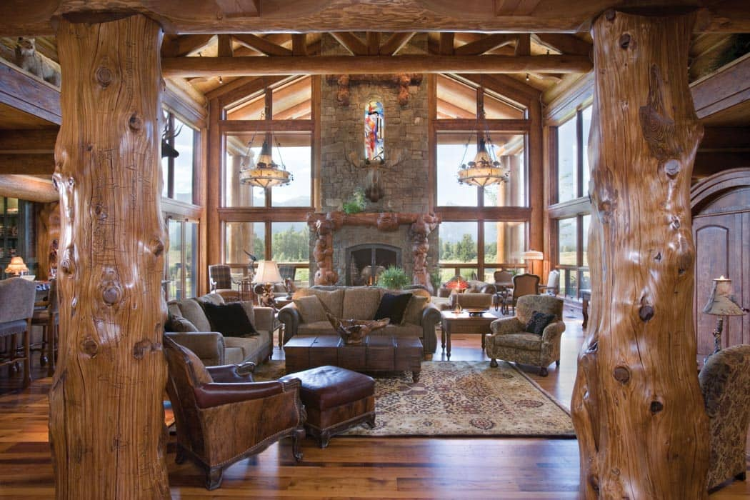 Great room photo gallery log homes timber homes for Log home fireplaces