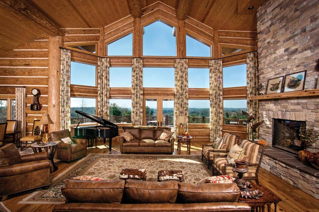 Great room photo gallery log homes timber homes for Rustic great room