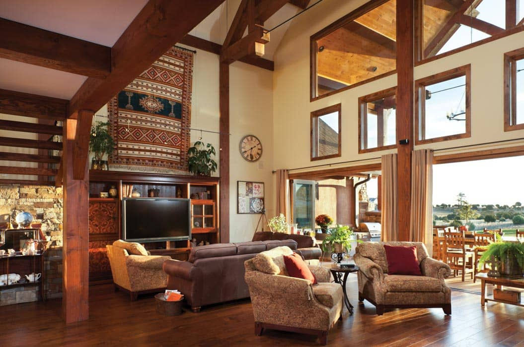 Great room photo gallery log homes timber homes for Great room home designs