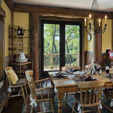 Handcrafted Log Dining Room