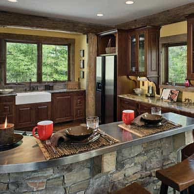 Handcrafted Log Kitchen