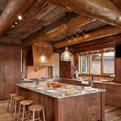 Beautiful ... Handcrafted Log Home Kitchen ...