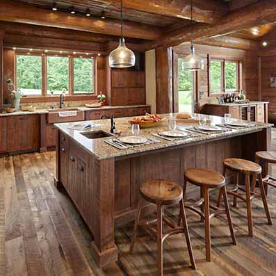 Handcrafted log home Kitchen