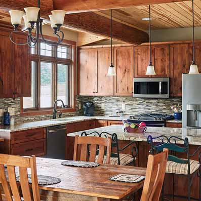 log home kitchen cabin