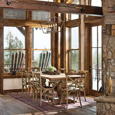 timber home dining room