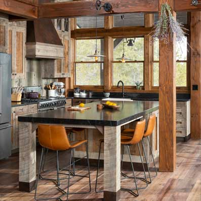 timber home kitchen cabin
