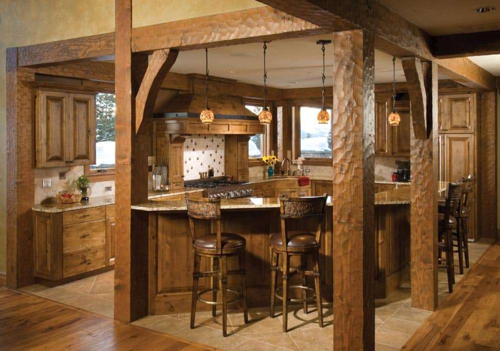 Photos timber and log home kitchens and dining rooms for Timber frame kitchen